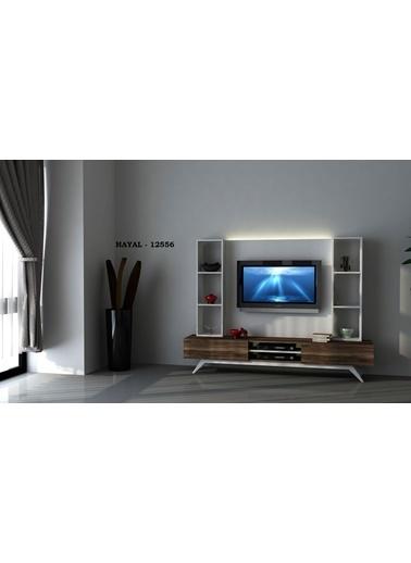 Sanal Mobilya Hayal 12556 Tv Ünitesi Leon Ceviz/Parlak Beyaz Beyaz